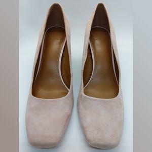 NWOT HALSTON Whitney Peach Suede Block-heel Pumps